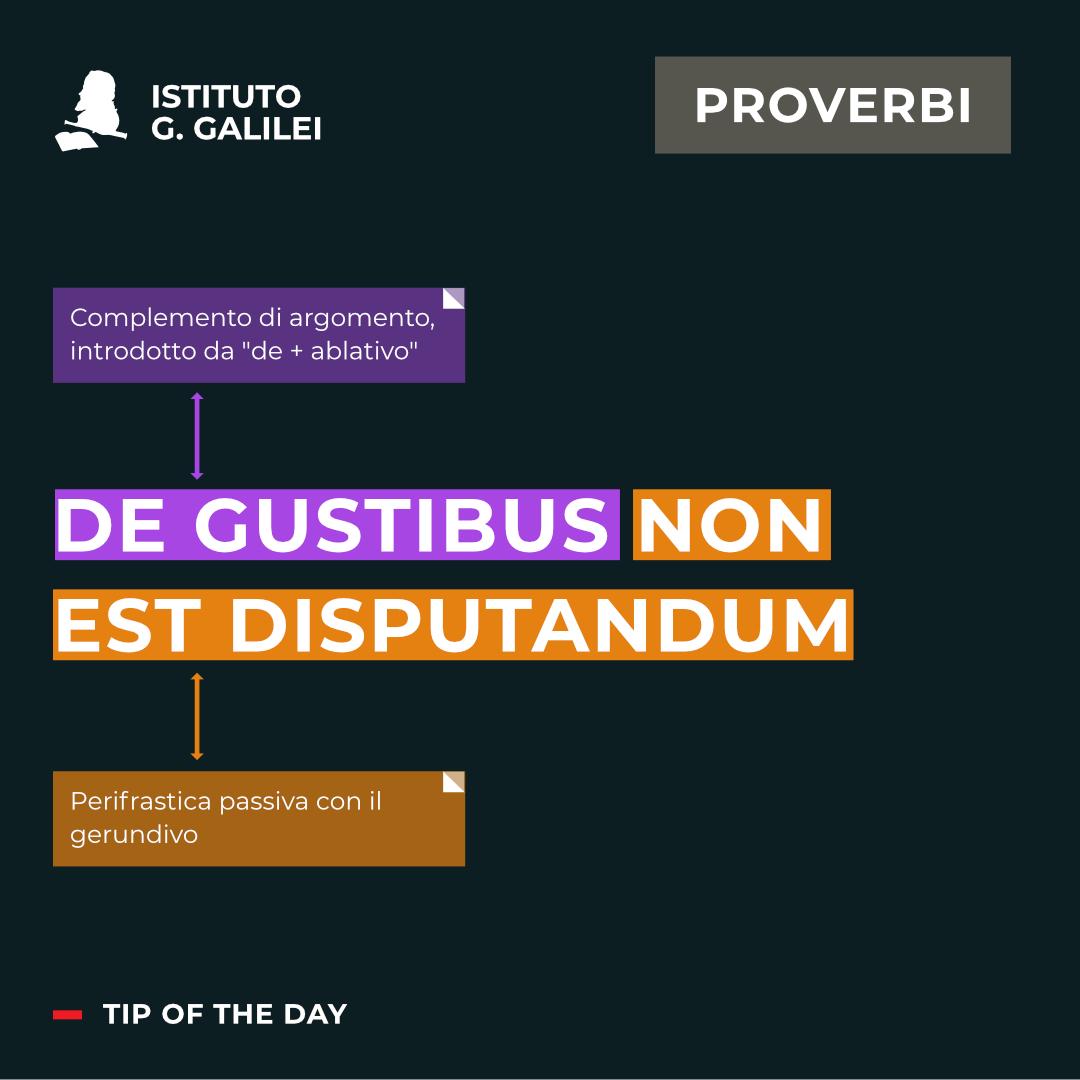 ISTITUTO GALILEI TORINO PROVERBI DE GUSTIBUS NON EST DISPUTANDUM